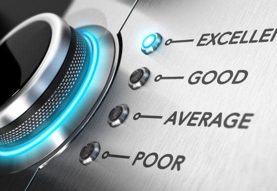 Rating button positioned on the word excellent. Conceptual image for illustration of good customer service and client satisfaction.
